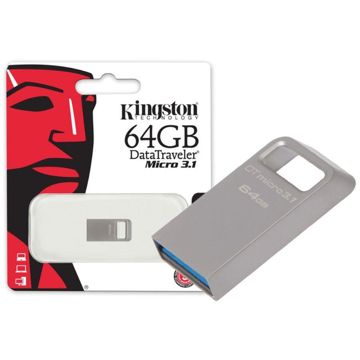 USB STICK 3.0 KINGSTON 64GB DATA TRAVELER mini METAL ΜΑΥΡΟ