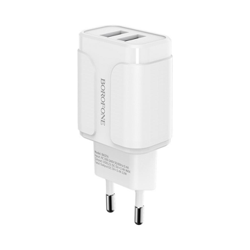 BOROFONE - BA37A SPEEDY TRAVEL CHARGER DUAL USB 5V/2,4A WHITE