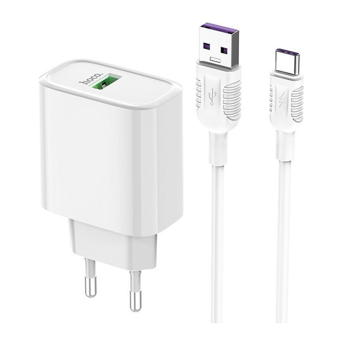 HOCO - C69A DYNAMIC POWER TRAVEL CHARGER SINGLE USB QC3.0, 22.5W WHITE SET Type C CABLE