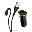 HOCO - Z31 CAR CHARGER DUAL PORT PD QC3.0A AND USB FAST CHARGING 3.4A 18W WITH type C CABLE BLACK