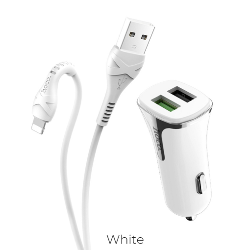 HOCO - Z31 CAR CHARGER DUAL PORT PD QC3.0A AND USB FAST CHARGING 3.4A 18W WITH LIGHTNING CABLE WHITE