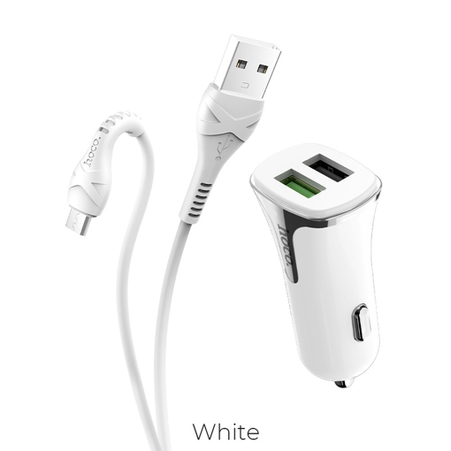 HOCO - Z31 CAR CHARGER DUAL PORT PD QC3.0A AND USB FAST CHARGING 3.4A 18W WITH micro USB CABLE WHITE