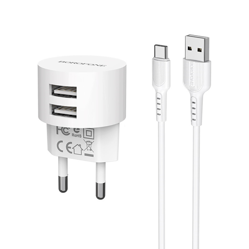 BOROFONE - BA23A BRILLIANT TRAVEL CHARGER DUAL USB 5V/2,4A SET TYPE C WHITE