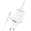 HOCO - N4 TRAVEL CHARGER DUAL USB 5V/2,4A SET LIGHTNING WHITE