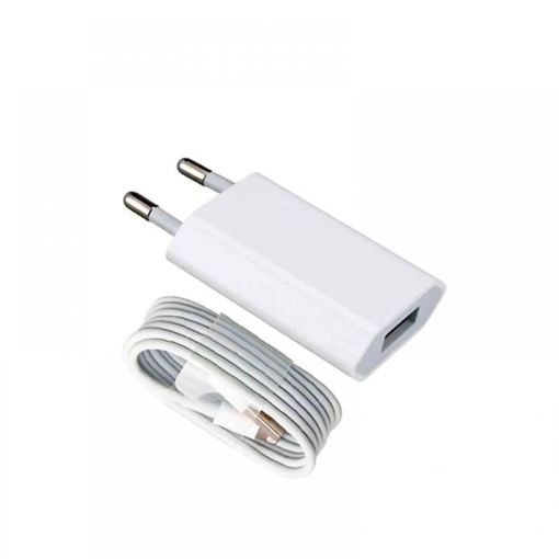 APPLE - ORIGINAL CABLE + TRAVEL CHARGER (A1400 + MD818) WHITE BLISTER
