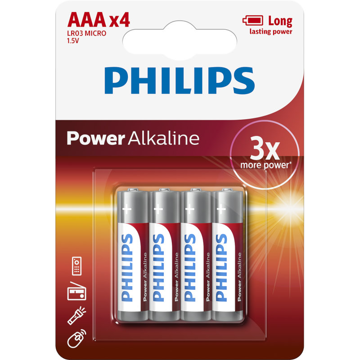 PHILIPS LR03 AAA, POWER ΑΛΚΑΛΙΚΗ ΜΠΑΤΑΡΙΑ  Blister 4 τεμ