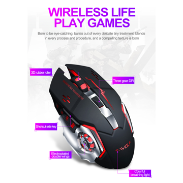 Mouse Wireless T-Wolf Q13 Black
