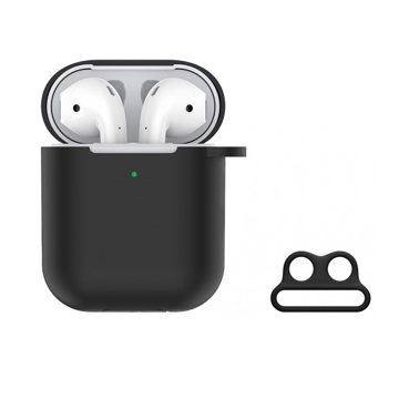 DEVIA Naked Silicone Case Suit for  AirPods (with loophole) Black