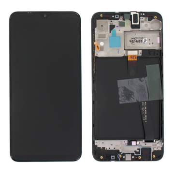 SAMSUNG A105 Galaxy A10 - LCD - Complete front LCD + Touch Black Original Service Pack