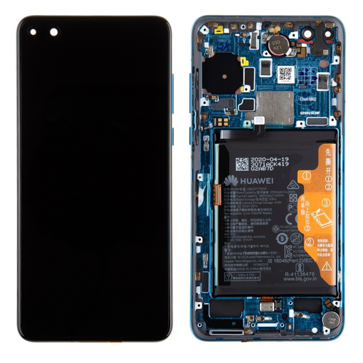 HUAWEI P40 - LCD + Touch + Frame + Battery Blue Original Service Pack