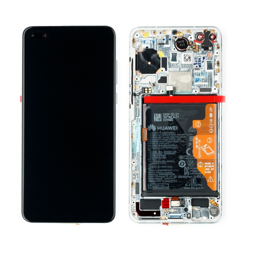 HUAWEI P40 - LCD + Touch + Frame + Battery White Original Service Pack