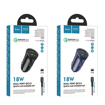 HOCO - Z39 CAR CHARGER DUAL PORT QC3.0 18W SET LIGHTNING CABLE BLUE